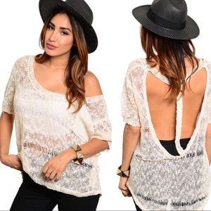 Tops - Distressed Open back sweater
